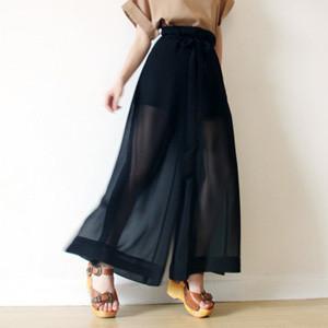 黑色雪纺高腰阔腿裤