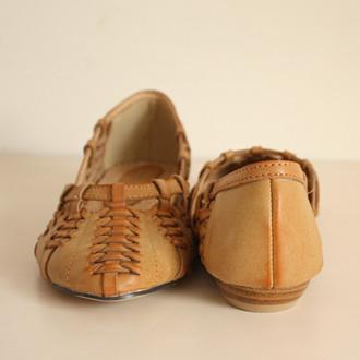 复古民族风手工纺织尖头单鞋