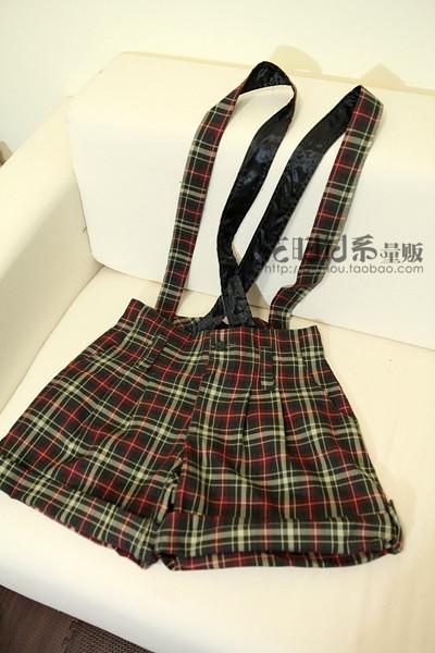 日系学院风背带裤