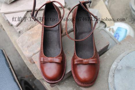 红韵手工制鞋 复古甜美蝴蝶款单鞋欧美粗跟手工女鞋单鞋高跟