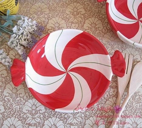 外贸彩绘陶瓷欧美外贸甜点心果装饰蛋糕饼干 微瑕喜庆红糖果形盘