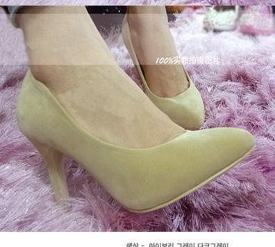韩版绒面浅口8CM细高跟OL单鞋女高跟鞋