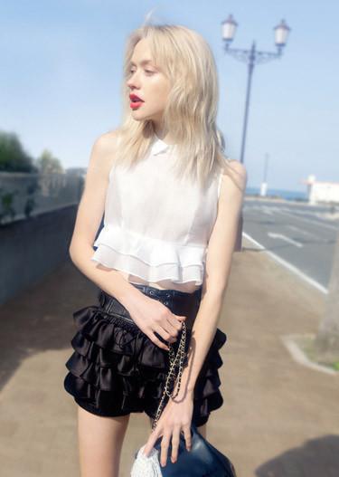 造后花园 欧美街拍风 梦幻仙女 奶白色 洛可可风 真丝衬衣图片