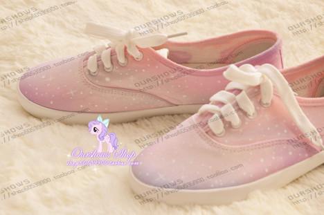 渐变粉紫色星空帆布鞋软妹子必备