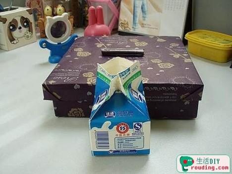 牛奶盒废物利用制作收纳盒