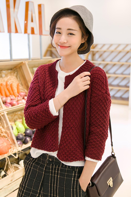 【图】菠萝针织法无纽扣敞开式毛衣搭配/价格-vick爱
