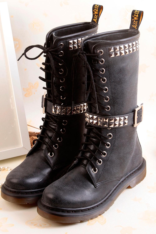 【图】复古擦色铆钉马丁靴搭配/价格-四照花bfupq