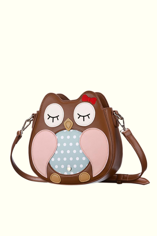 小象包袋可爱猫头鹰复古单肩包